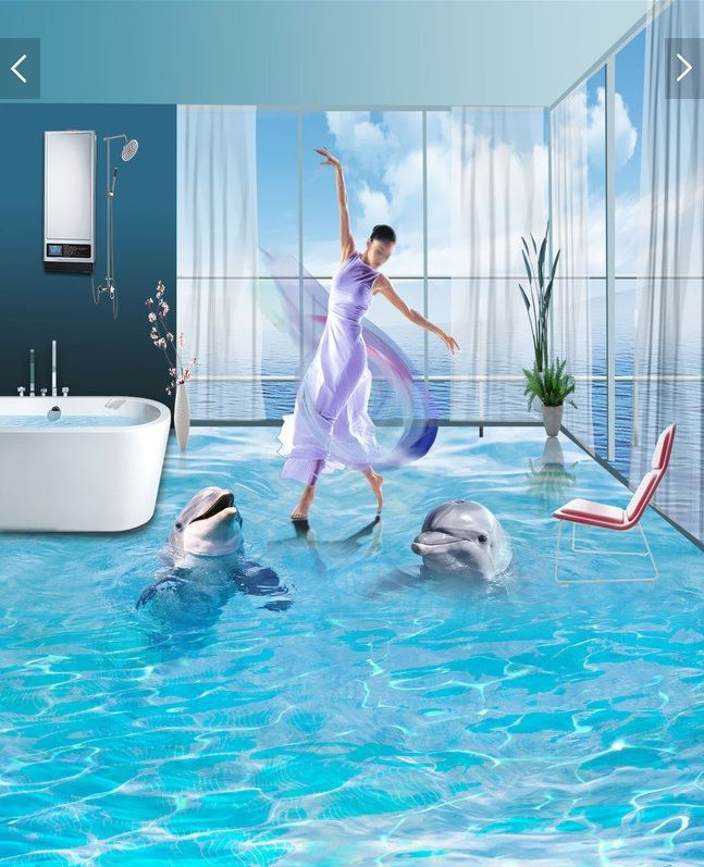 3 d pvc flooring custom wall sticker A pair of  ocean dolphins 3d bathroom flooring painting photo 3d wall murals wallpaper