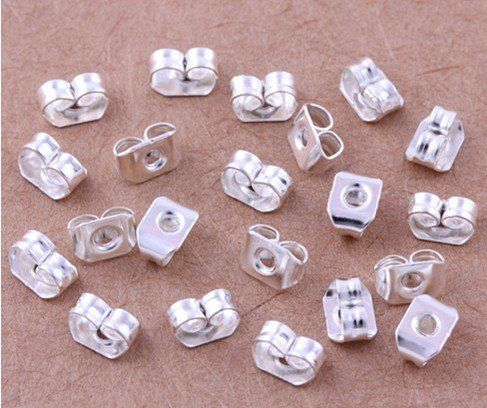 925 silver finding,10pcs Sterling Silver 925 EARRING BACKS EAR NUTS 3x4x5 mm.silver jewelry finding