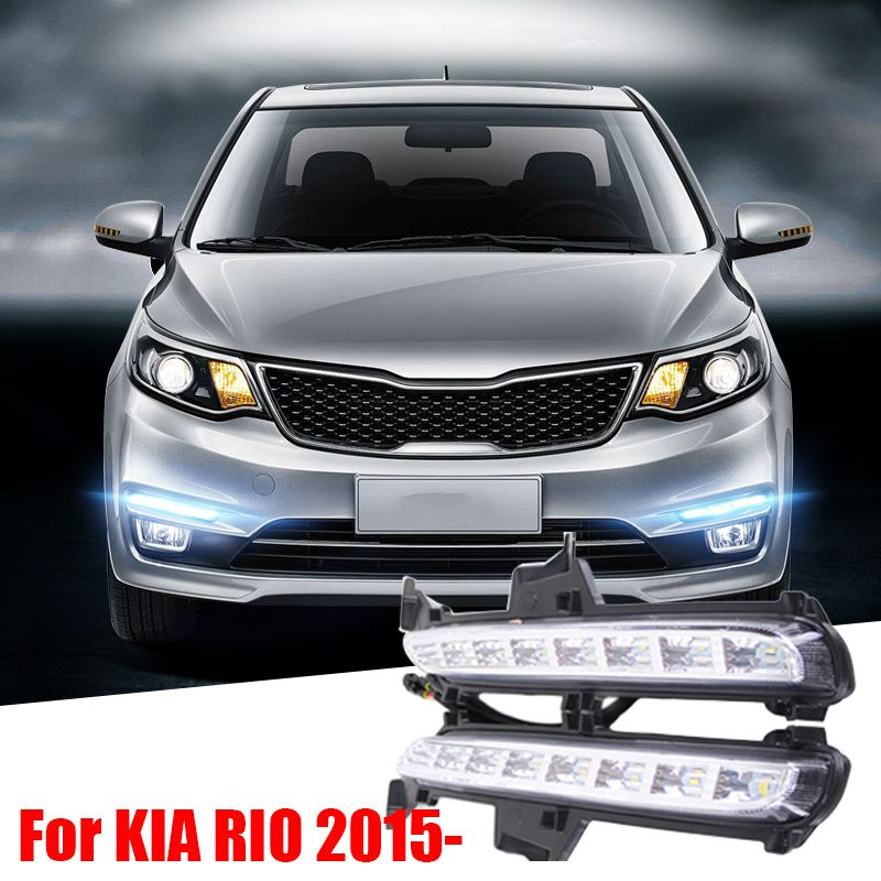 For RU KIA RIO K2 2015 2016 Super Bright Car Styling 8 LED DRL Daytime Running Light Fog Lamp Modification Turn Signals Bright