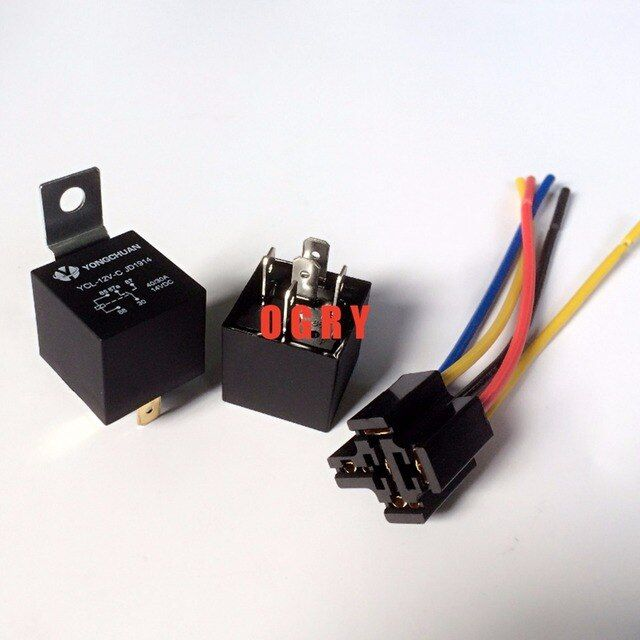 5 sets 40A Waterproof Relay/ Automotive Relays 12VDC/24VDC 5 copper pins 1NO 1NC relay+ Five-wire socket