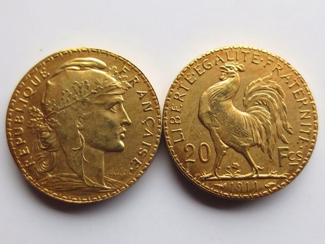 France 20 Francs 1911 Rooster 24K Gold Copy Coin Free Shipping