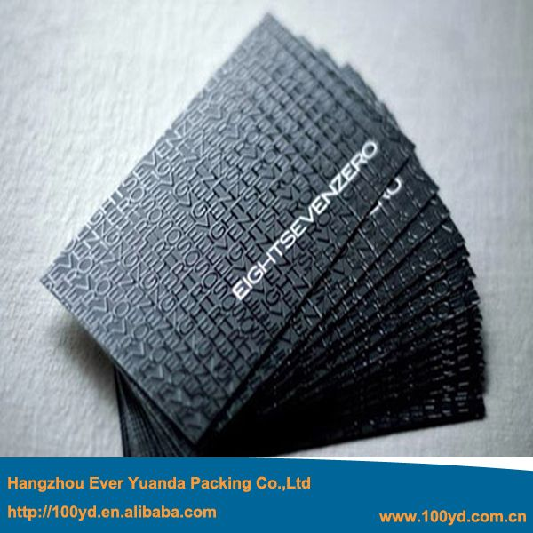 2016 New Arrival High Quality One Side UV Business Cards Customized Black Cardboard Name Card High-End Brilliant Thick 600gsm