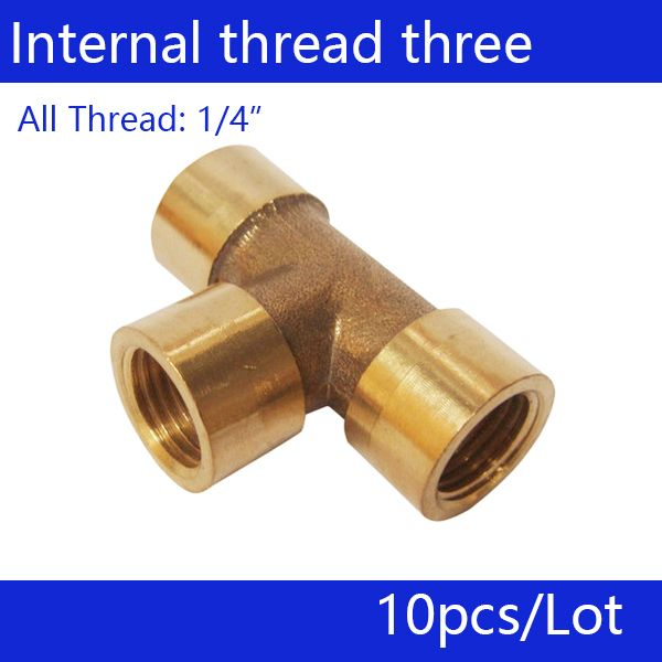 "Free shipping, 10pcs a lot, 1/4"" Internal thread three links, copper connector"