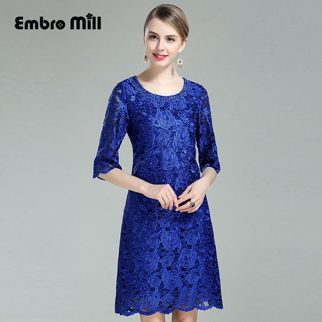 Traditional chinese dress 2017 summer new vintage royal embroidery lace floral plus size elegant lady midi bule dresses M-4XL