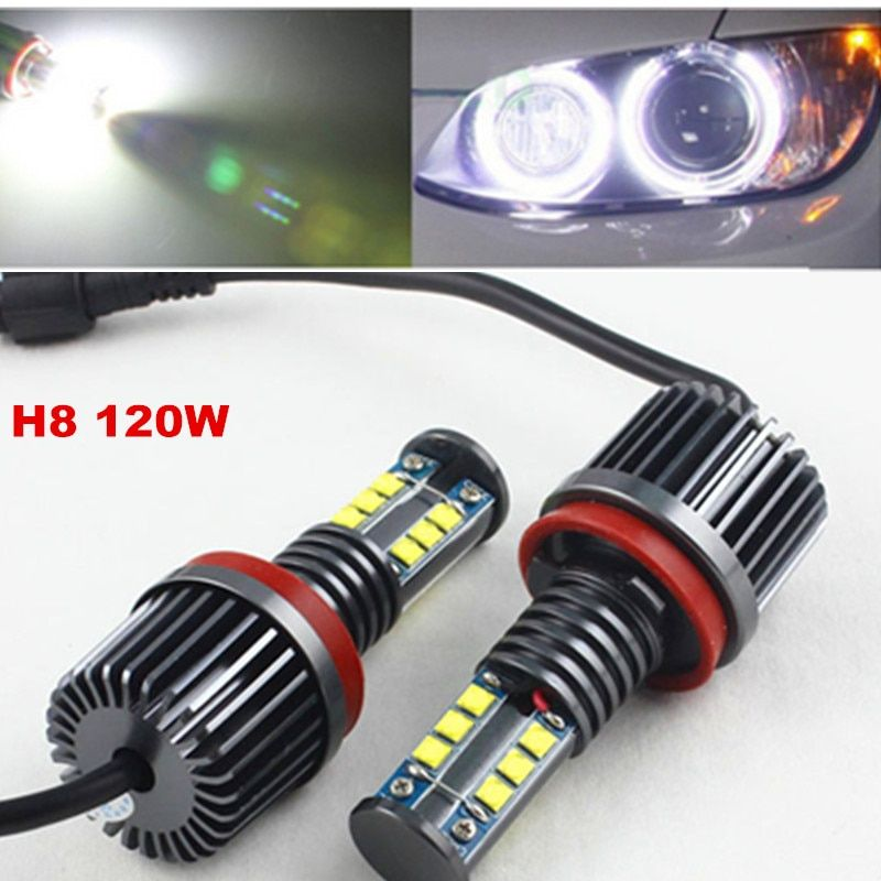FSYLX 1Set 120W H8 LED marker Angel Eyes bulb for BMW X5 E70 X6 E71 E90 E91 E92 M3 E60 xenon white headlight drl Angel Eyes lamp