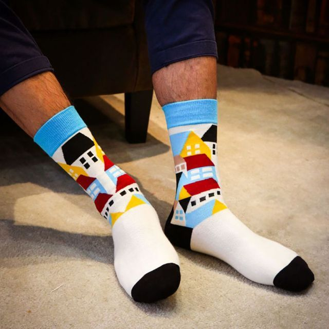 New Arrival Men Colorful Cotton Socks Striped Jacquard Art Socks Summer Fashion Hit Color Dot Long Happy Socks Men's Dress Sock