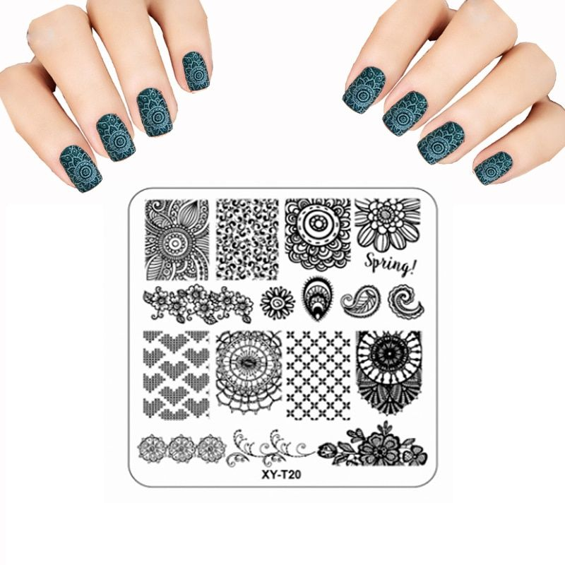 New Nail Stamping Plates Plastic Stencils For Nails Beard flower Lace Stamp Polish Handle Designs Nail Art Template