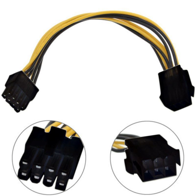 1PC 6 Pin Feamle to 8 Pin Male PCI Express Power Converter Cable CPU Video Graphics Card 6Pin to 8Pin PCIE Power Cable