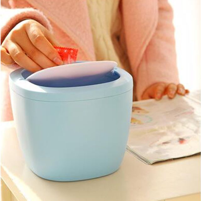 Removable type Mini Desktop swing top trash can Kitchen Bedroom Home Waste Garbage Bin Blue