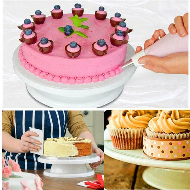 28cm Plastic Cake Turntable Rotating Cake Decorating Turntable Anti-skid Round Cake Stand Cake Rotary Table with Box MK2280