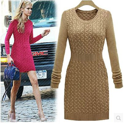 2016 Spring New Fashion Women Knitted Sweater  Pullovers Dress Flower Knitted Sweater Dress