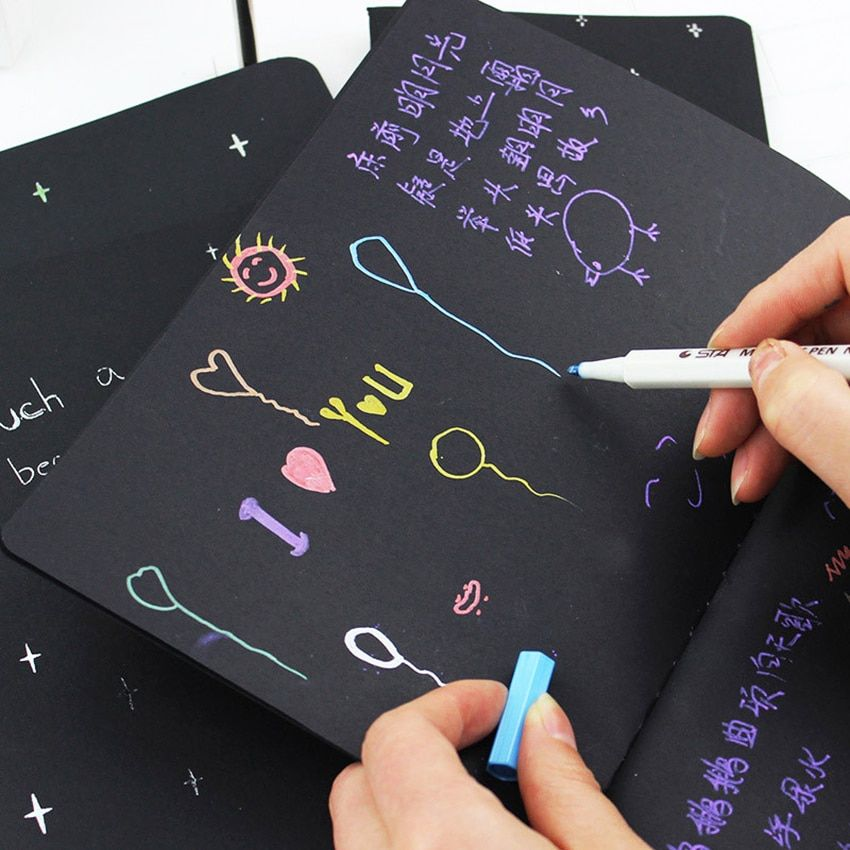 Cute Notebook Diary Black Paper Notepad Sketch Graffiti Notebook for Drawing Painting Office School Stationery Gifts
