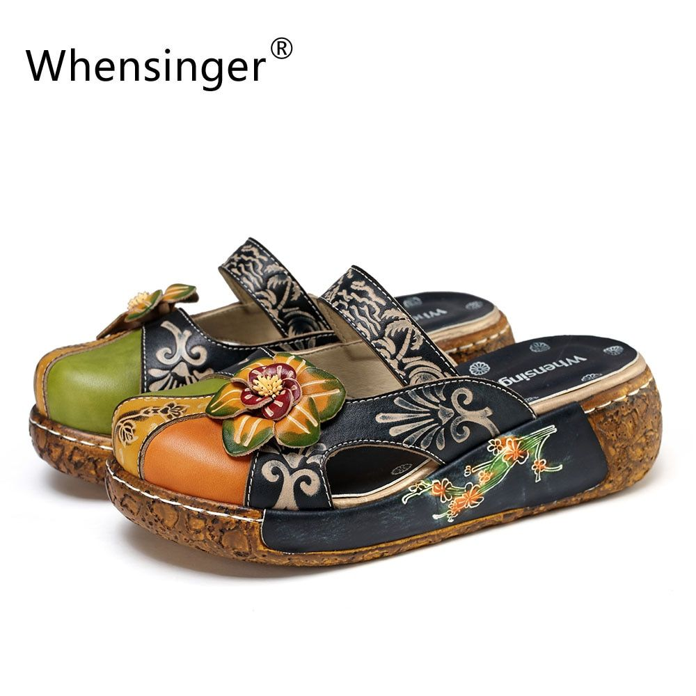 Whensinger - 2017 Shoes Women's Sandals & Flip Flops Female Genuine Leather Summer Indoor Floral Sewing Fashion 0933-31