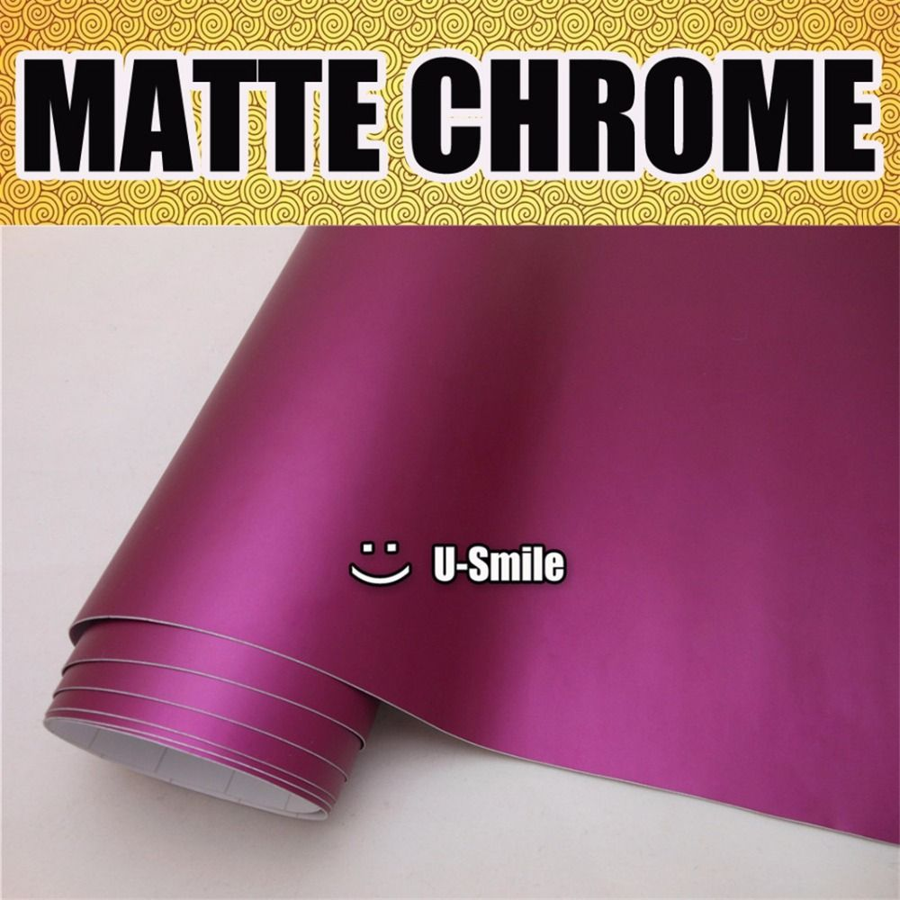 Premium Matte Satin Chrome Matte Metallic Purple Vinyl Wrap Film Roll Sticker Decal Bubble Free Car Body Film