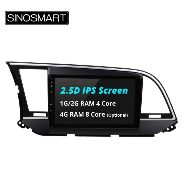 SINOSMART 2.5D IPS Screen 4/8 Core CPU 2G/4G RAM Android 6.0/8.0 Car Navigation GPS Player for Hyudai Elantra I35 2016 2017
