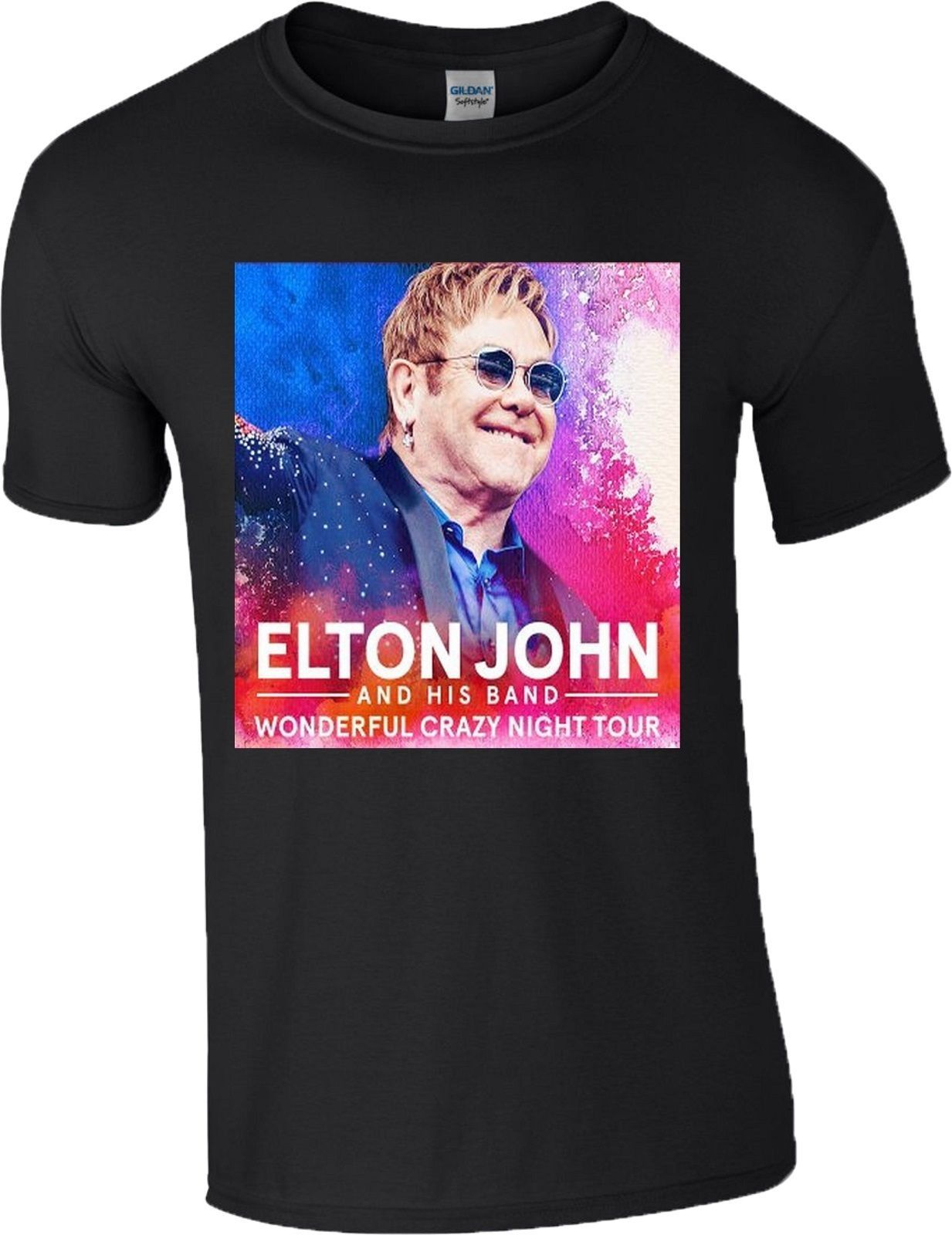 Interesting Short Sleeve Men Printing Machine Elton John Wonderful Crazy Night Tour 2017 Music Band Pop Top Crew Neck T Shirts