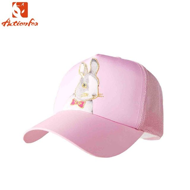 Actionfox 2017 New Pink Women Kids Lady Student Net Cap Summer Ventilate Hat Cartoon Rabbit Pattern Sun Beach Hats Caps 636-3679
