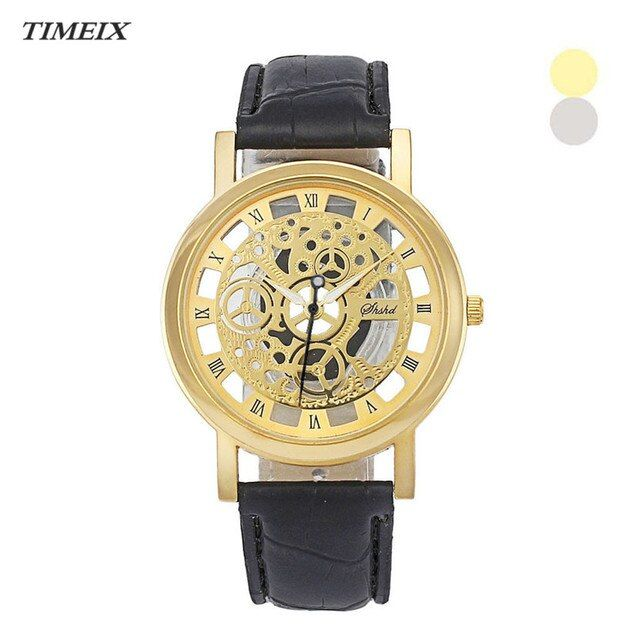 New Fashion Classic Dial Skeleton Men's Leather Band Mechanical Luxury Sport Army Skeleton Quartz Wrist Watch Hollow Out*50