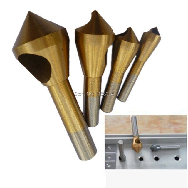 4Pc Countersink and Deburring Tool Set ,Metal Plastic Wood Cutter Cutting Accessory HSS Ti Coated 2-5mm 5-10mm 10-15mm 15-20mm