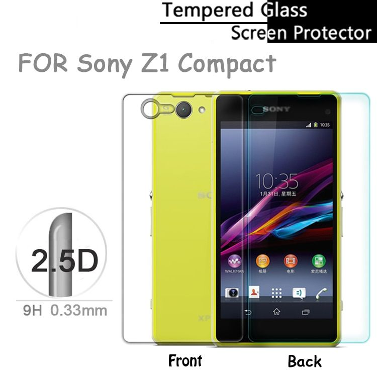 Premium 2.5D Front & Back 0.33mm Tempered Glass Screen Protector for Sony Xperia Z1 Z3 Z5 Compact  Z1 mini Protective Film
