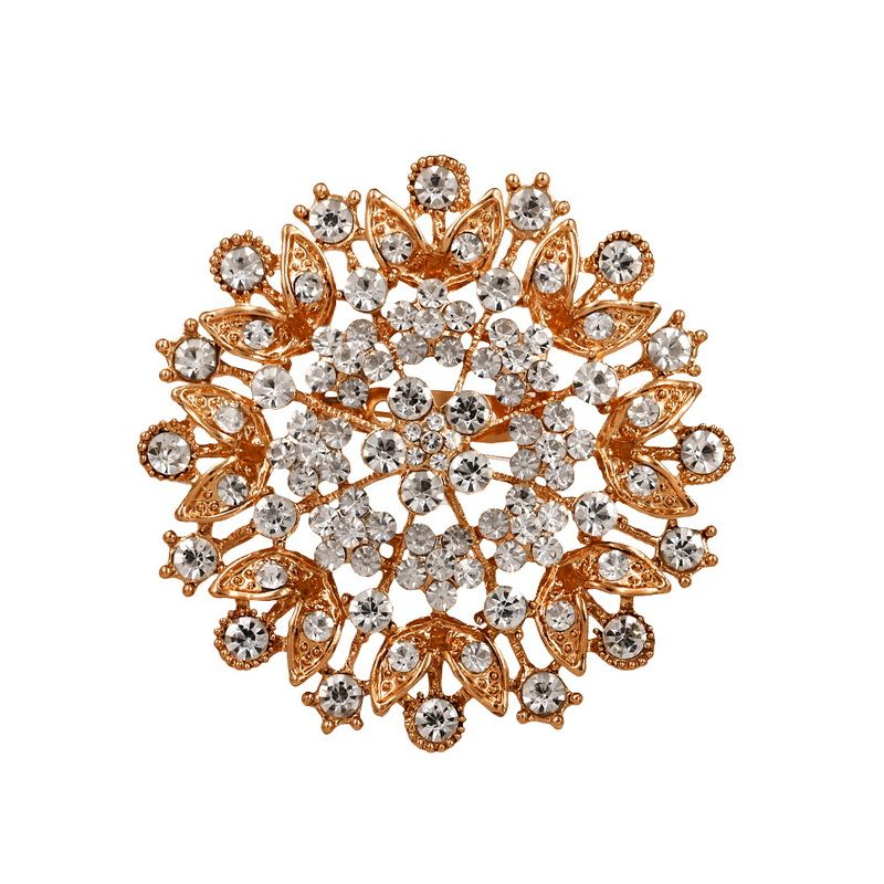 WEIMANJINGDIAN Rose Gold / Silver Color Plating Large Crystal Rhinestones Flower Brooch Pins for Women or Wedding Bouquets