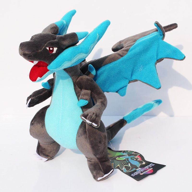 25cm Mega Charizard X Y Plush Toys Blue Charizard Soft Stuffed Dolls Gift for Children