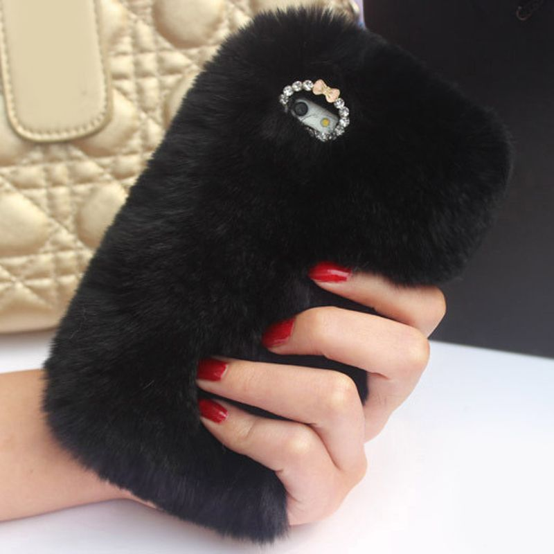 Fashion Cell Phone Case For iPhone 8plus/7plus 6 6s 7/8 5 5s SE Coque Fur Diamond Bling Winter Luxury Soft Back Protective Cover