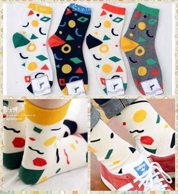 wholesale 100pcs=50pairs New Candy color graphics sox Autumn Winter South Korean women's Fashion Cotton Tube Socks