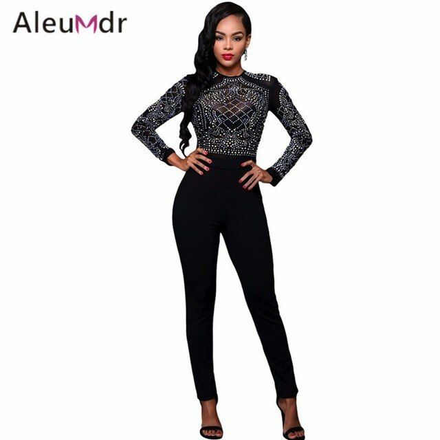 Aleumdr 2017 Elegant Women Overall Long Sleeves Black Sexy Mesh Bodice Jumpsuit Slim Long Pants Macacao Feminino Longo LC64168
