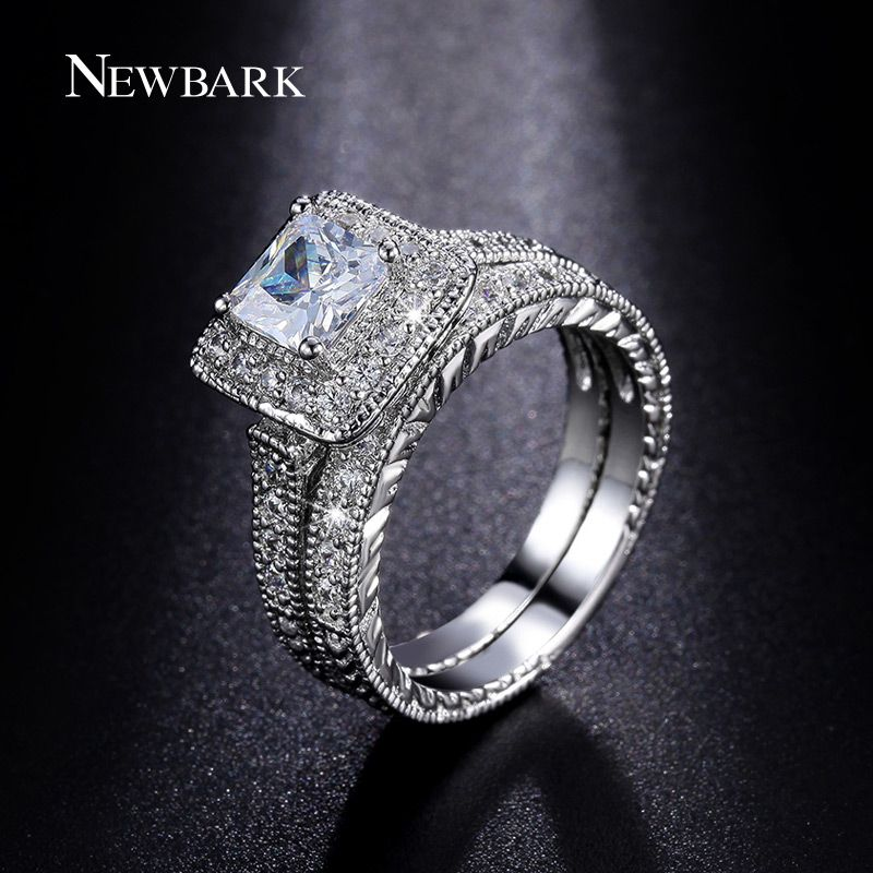 NEWBARK Rings Set for Women Silver Color Big 1.5ct Princess Cut CZ Engagement Ring Wedding Jewelry Anillos Casamento Anel
