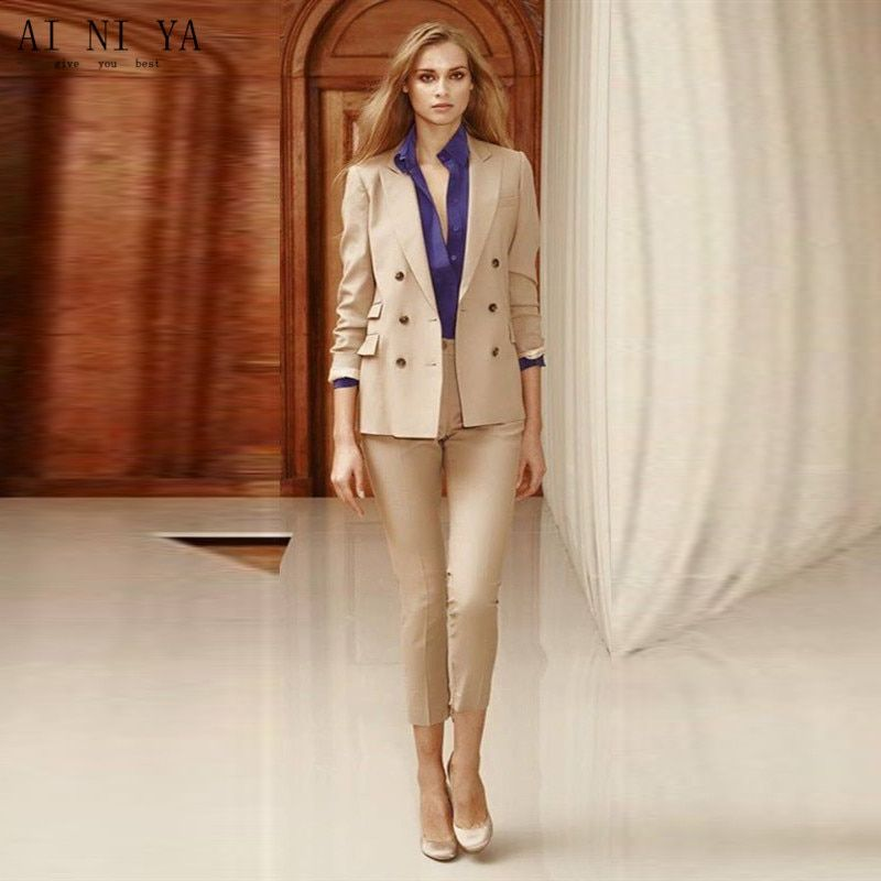 Women Pant Suits Double Breasted Women Ladies Custom Made 2 Piece Office Business Tuxedos Suits