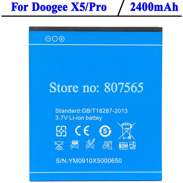 For Doogee X5 Battery 2400mAh Large Capacity Backup Bateria For DOOGEE X5 Pro