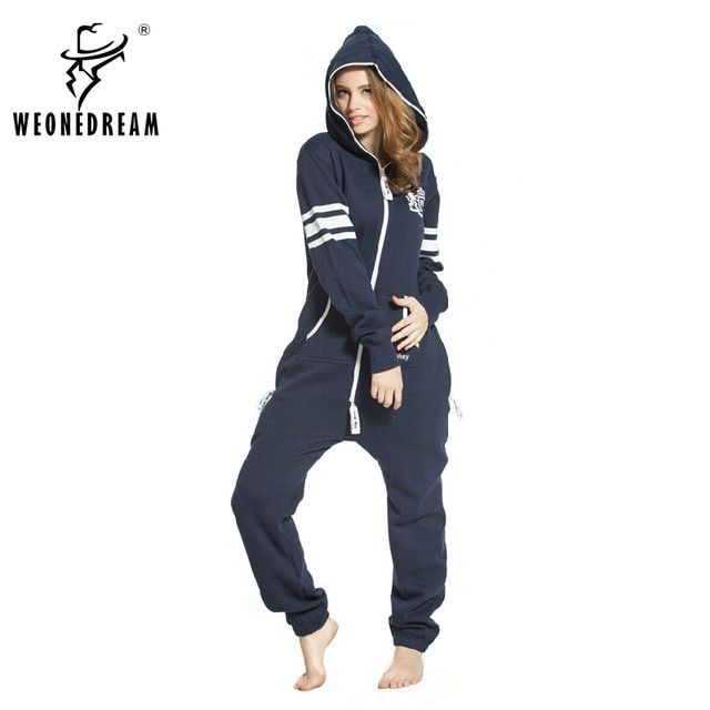 2017 New Arrival College Wind Dark Blue Jumpsuit Coverall Zip  Hoodies Number  Print Sweater Siamese onesies for adults
