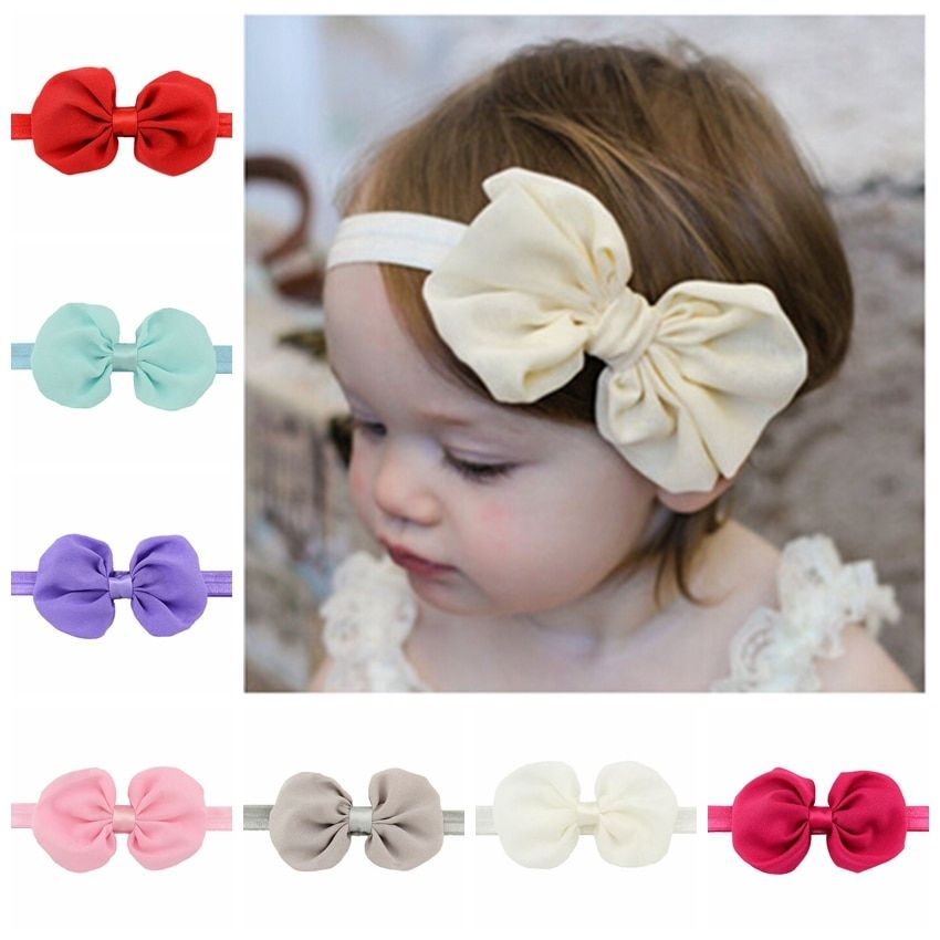 12pcs/lot  Fashion Toddler Baby Headband Chiffon band Bow Headbands Elastic Infant Children Hair Accessories Ornaments 585
