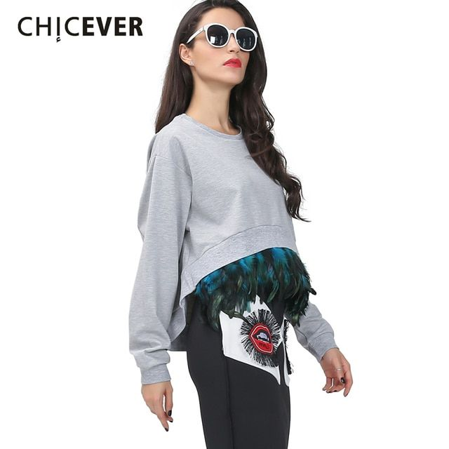 [CHICEVER] Spring Korean Detachable Feather Long Sleeves Oversized Sweatshirts Women Asymmetric Crop Top Streetwear Clothing