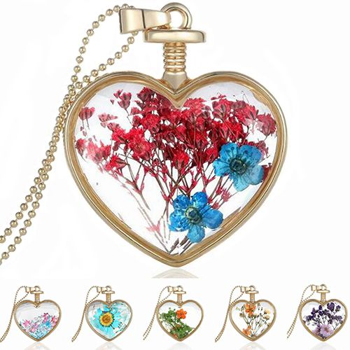 Hot Women's Love Heart Charm Dried Flower Pendant Golden Chain Necklace Jewelry Gift  6Y54 7G7F BD8W