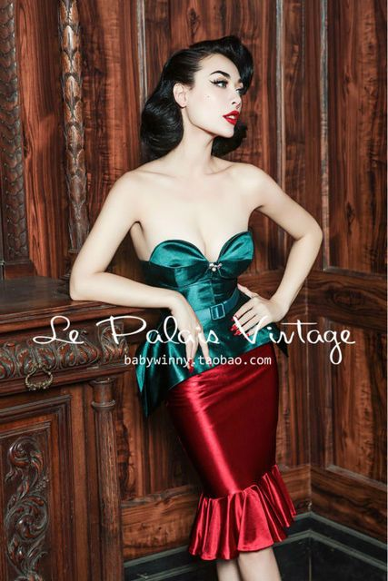FREE SHIPPING Le Palais Vintage Christmas sexy retro elegant bra + fish half skirt suit sexy set women dress vestidos