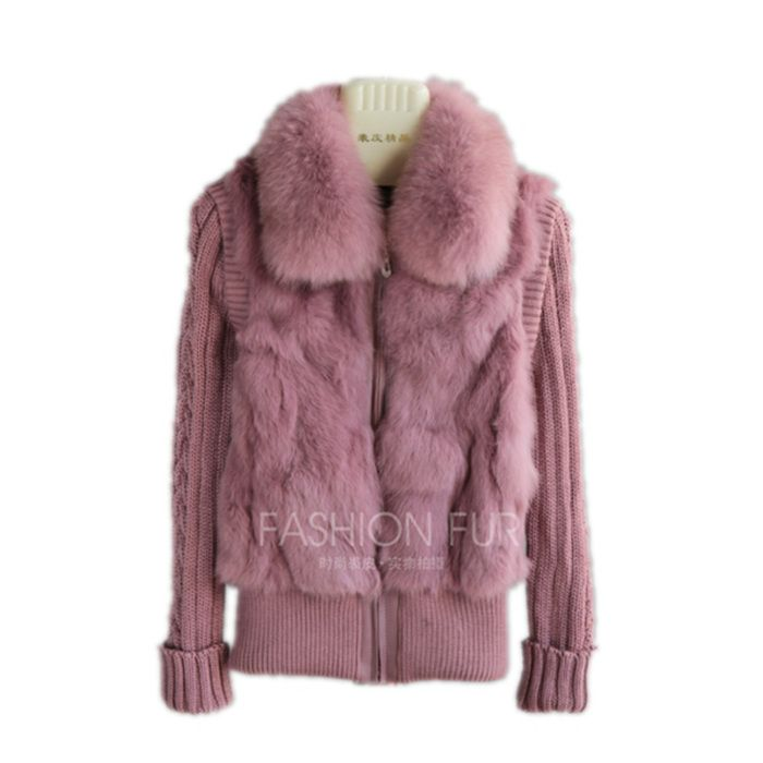 QIUCHEN 2018 Free shipping Brand New natural rabbit fur jacket with real fox fur collar real rabbit fur coat in stock