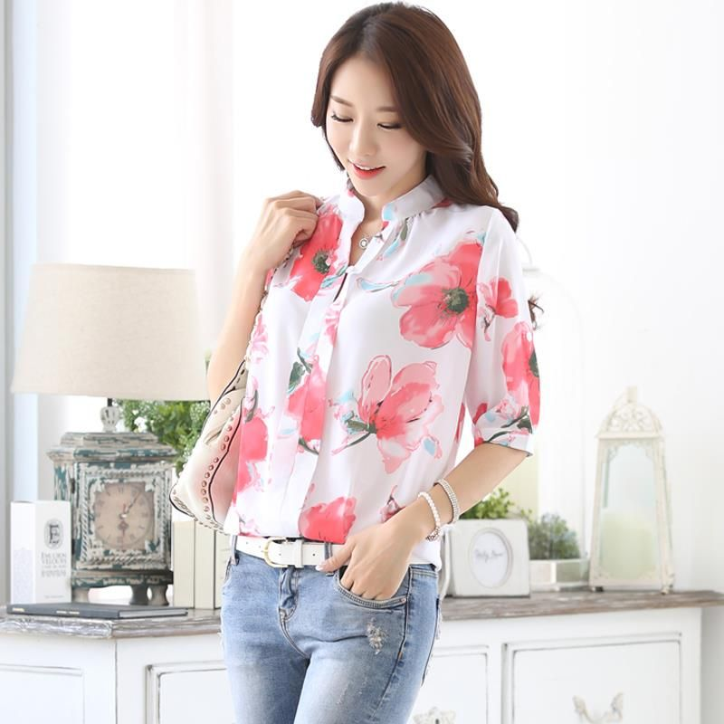 2016 NEWEST summer women blouse Korean style flower  printed chiffon shirt plus size casual shirt female fashion top 152H 25