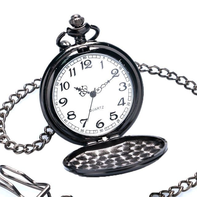 Black Smooth Steampunk Quartz Pocket Watch Women Men Necklace Pendant Chain Relogio De Bolso