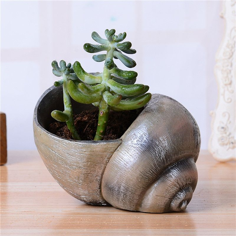 cute Conch animal flower pot Resin planters pots small decorative flowers pot succulents pots mini flowers holder Pretty jardin