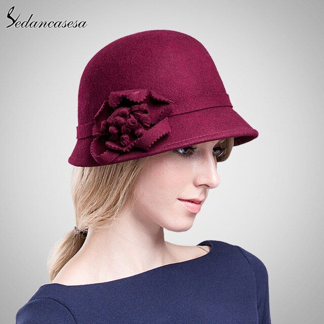 100% Wool From Australian Fedora Hat For Women Elegant Ladies Hats Green Pink Khaki Cap FW049013
