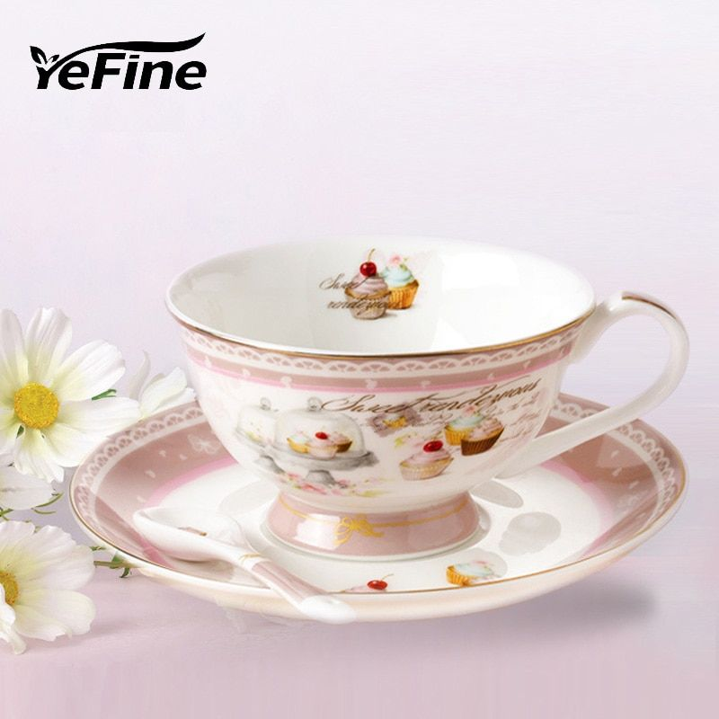 YeFine Porcelain Tea Cup European Style Simple Luxury Coffee Cups And Saucers With Spoon Bone China Afternoon Tea Accessories