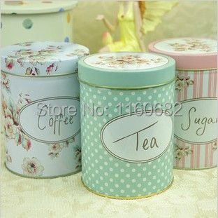 Europe Vintage flower sugar iron case floral tea candy coffee cans storage tin box round box container