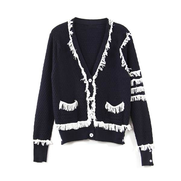 tassel cardigan sweater for women spring autumn Russian fashion high quality classic wool knitted tassel cardigan sweater