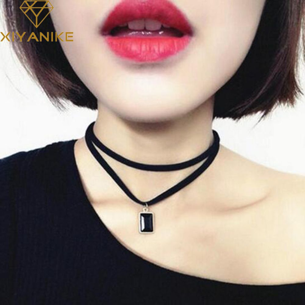 New Fashion Multilayer Black Imitation Leather Choker Necklace Gothic Chain Charm Gem Pendant Vintage Jewelry  XY-N606