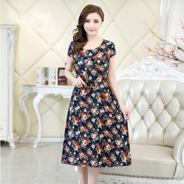 Runway 2018 Women clothing vestidos casual vintage floral print dress loose vestido plus size female maxi summer dresses brazil