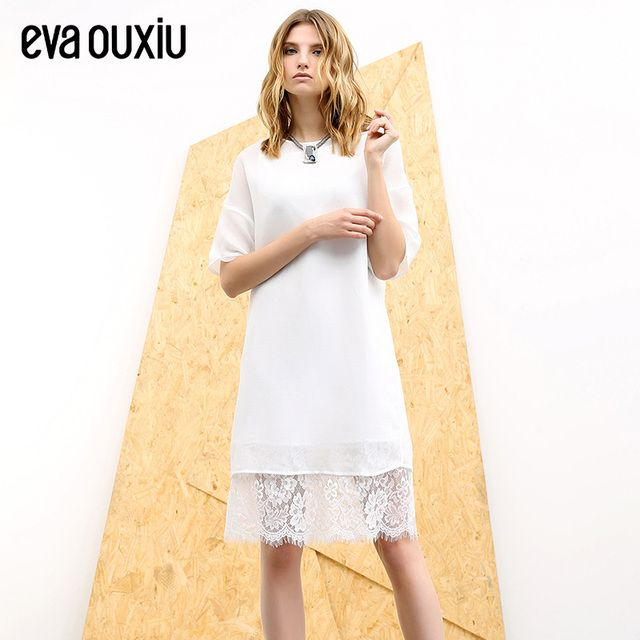 Evaouxiu Summer Women Lace Patchwork O-neck One-piece Dress Short-sleeve Evening Party Dress
