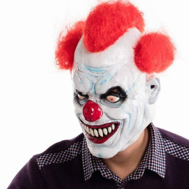 2018 NEW Joker Clown Costume Mask Creepy Evil Scary Halloween Clown Mask Adult Ghost Festive Party Mask Supplies Decoration