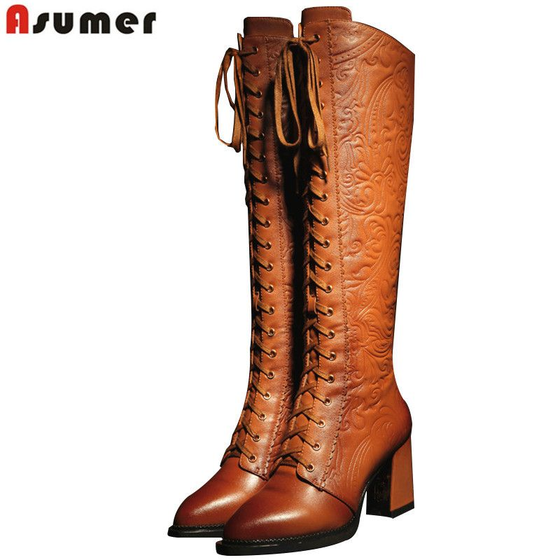ASUMER 2020 high quality women boots high heels pu+ genuine leather motorcycle boots women lace up knee high boots winter shoes